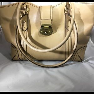 Etienne Aigner Beige Leather Tote Huge Exc. Cond.